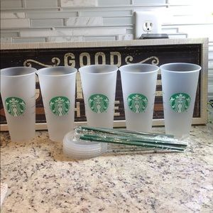 5 Starbucks Frosted Plain Reusable Tumblers